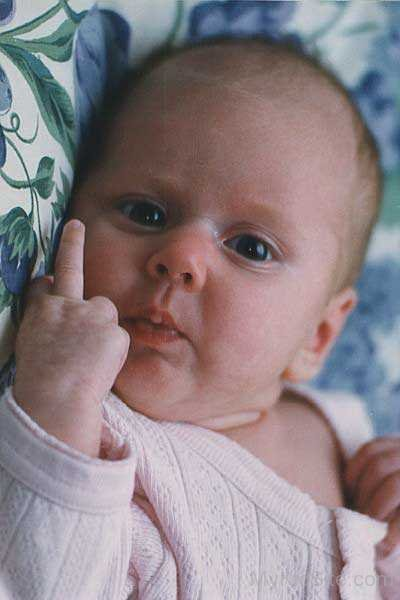 Angry Baby Showing His Finger